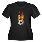 Soccer fire Women's Plus Size V-Neck Dark T-Shirt