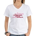 """""""Pinky Sticking Out"""" Women's V-Neck T-Shirt"""