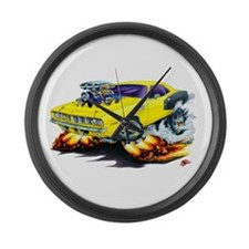 1971-72 Hemi Cuda Yellow Car Large Wall Clock