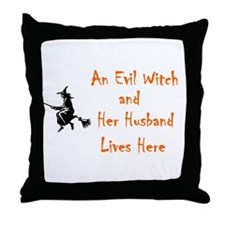 """Funny Witch"" Throw Pillow"
