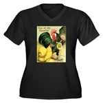 Year Of The Rooster2 Women's Plus Size V-Neck Dark