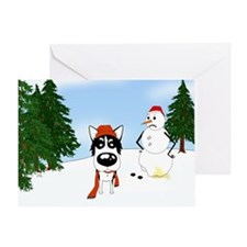 Siberian Husky Holiday Greeting Card