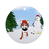 Siberian Husky Holiday Ornament (Round)