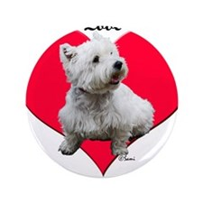"Sitting Westie Loves Dad 3.5"" Button (100 pac"