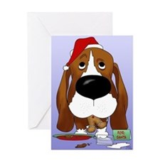 Basset Santa's Cookies Greeting Card