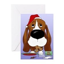 Basset Santa's Cookies Greeting Cards (Pk of 20)