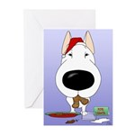 Bull Terrier Santa Greeting Cards (Pk of 20)