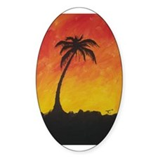 Lonely Palm Oval Sticker (50 pk)