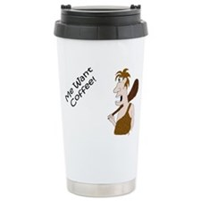 """ME WANT COFFEE"" Ceramic Travel Mug"