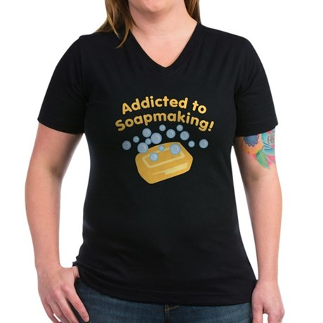 Addicted to Soap Craft Women's V-Neck Dark T-Shirt