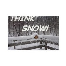 """Think Snow"" Rectangle Refrigerator Magn"