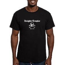 Knights Templar Skull & Bones Black Fitted T-S
