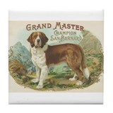 Saint Bernard Dog Vintage Cigar Label Tile Coaster