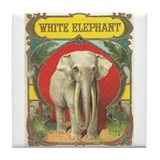White Elephant Vintage Art Tile Coaster