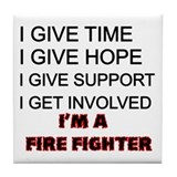Cute Firefighter paramedic Tile Coaster
