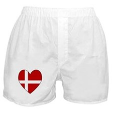 Danish Flag Heart Boxer Shorts