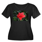 Red Hibiscus Women's Plus Size Scoop Neck Dark T-S