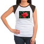 Red Hibiscus Women's Cap Sleeve T-Shirt