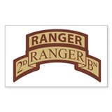 2nd Ranger Bn Scroll/Tab Dese Rectangle Decal