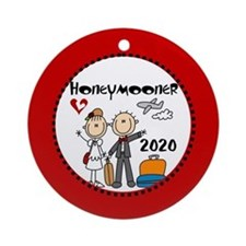 Stick Figure 2015 Honeymooner Ornament (Round) Orn