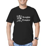 Knights Templar Shield Green Fitted T-Shirt