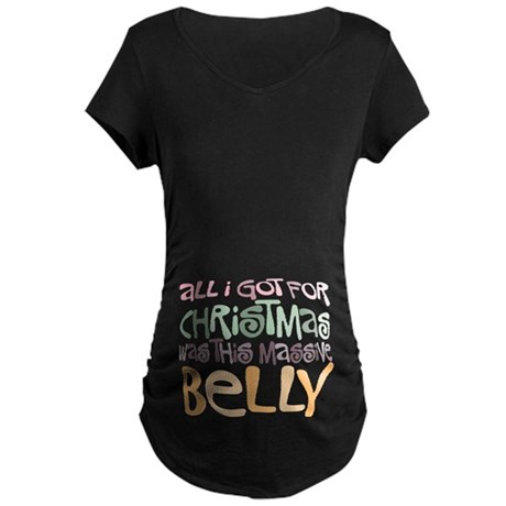 Massive Belly Maternity Dark T-Shirt