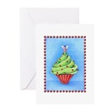 Christmas Tree Cupcake Greeting Cards (Pk of 10)