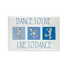 Curtis Dancing Blue Rectangle Magnet