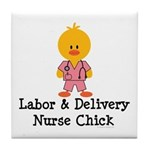 Labor and Delivery Chick Tile Coaster