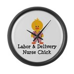 Labor and Delivery Chick Large Wall Clock