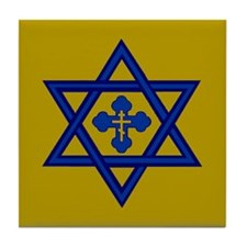 Star of David/Orthodox Cross Tile Coaster