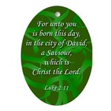 Green Ribbon Luke 2:11 Oval Ornament