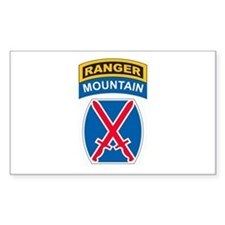 10th Mountain Div with Ranger Rectangle Decal
