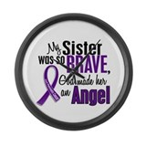 Angel 1 Sister Pancreatic Cancer Large Wall Clock
