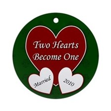 Two Hearts Married 2010 Ornament (Round)