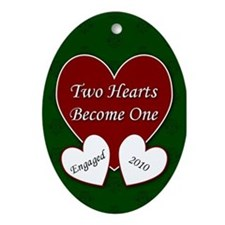2 Hearts Engaged 2010 Oval Ornament