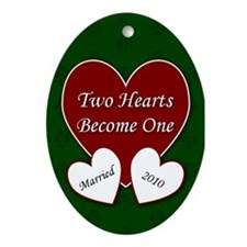 Two Hearts Married 2010 Oval Ornament