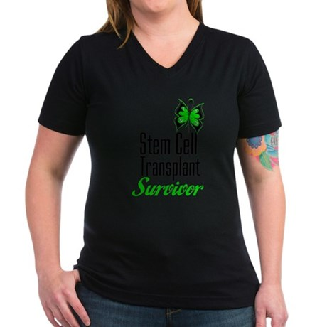 Survivor Stem Cell Transplant Women's V-Neck Dark