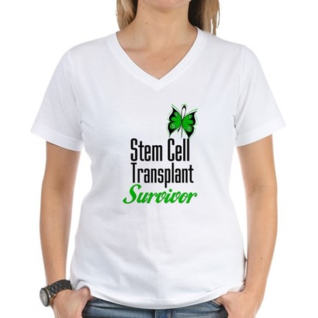 Survivor Stem Cell Transplant Women's V-Neck T-Shi