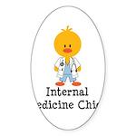 Internal Medicine Chick Oval Sticker (10 pk)