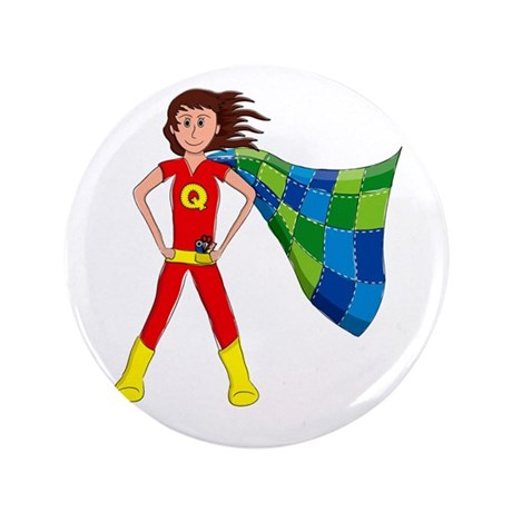 "Quilterhero - Brunette 3.5"" Button"