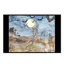 Dancing with the bats -skeleton Postcards (Package