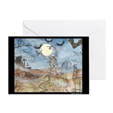 Dancing with the bats -skeleton Greeting Card