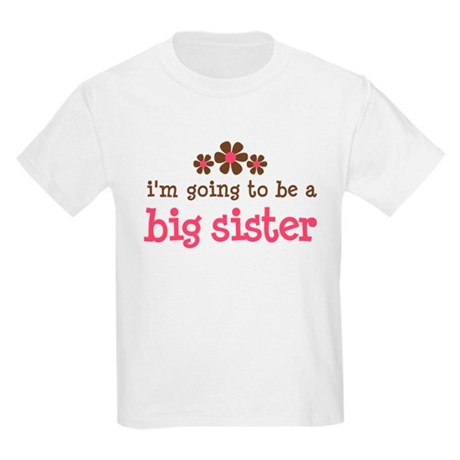 big sister pink brown flower Kids Light T-Shirt
