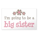 big sister pink brown flower Rectangle Stickers