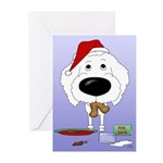 Poodle Santa's Cookies Greeting Cards (Pk of 10)