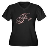 Flirty Girl Women's Plus Size V-Neck Dark T-Shirt