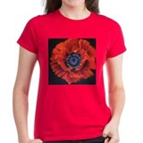 Red Poppy on Black Tee