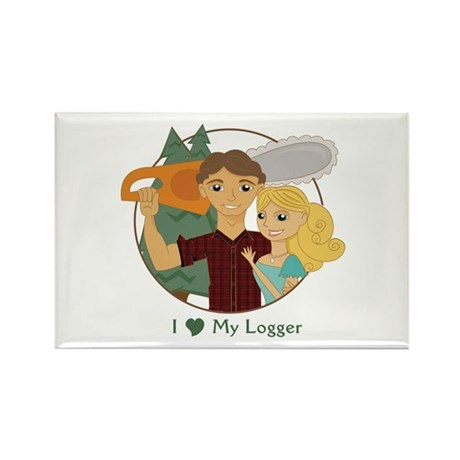 Love My Logger - Blonde Rectangle Magnet