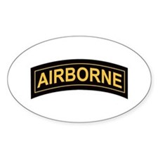 Airborne Tab Black and Gold Oval Decal